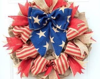 Fourth Of July Wreath 4th Of July Wreath Patriotic Wreath Americana Wreath Summer Wreath Red White And Blue Wreath July 4th Wreath American