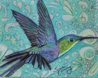 original art  aceo drawing hummingbird blues zentangle design spirit animal