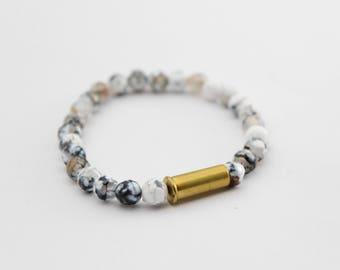 Dragon Vein Agate & Bullet Bracelet