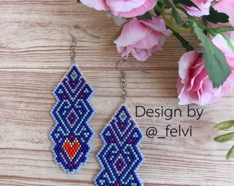 Earrings lagoon, Geometry, Long earrings, Casual jewelry, Brick Stitch, Miyuki Delica beads