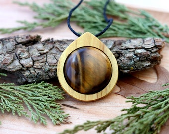 Tigers Eye Crystal Pendant Necklace, Crystal Necklace, Wood Necklace, Tigers Eye Necklace,