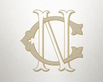 Custom Vintage Initials - CN NC - Vintage Initials - Digital