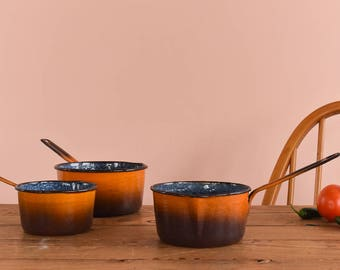 Vintage Set of Three Orange and Brown Ombre Enamel Sauce Pans