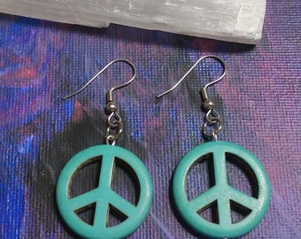 Teal Peace Sign Earrings