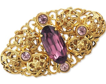Vintage Filigree Brooch With Amethyst Colored Glass Stone