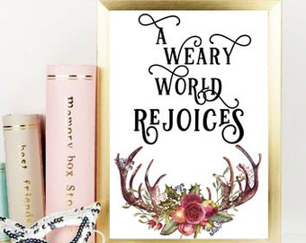 A weary world rejoices Digital art printable