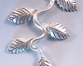 Karen Hill Tribe Silver Leaf Pendant T401 (1) 2 inch Leaves Pendant, Hill Tribe Pendant