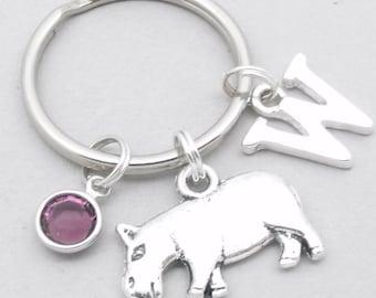 Hippo monogram keyring   hippo keychain   personalised hippo keyring   hippo accessory   hippo gift   letter   hippopotamus keychain
