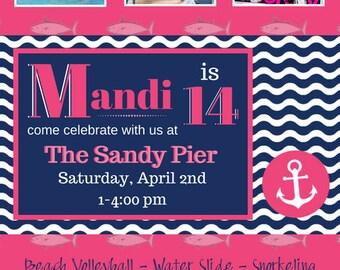 Nautical Photo Birthday Invitation