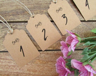 Table Number Tags | Wedding Table Numbers | Table Number Swing Tags | Centerpiece Decor | Pre-Cut Twine Included