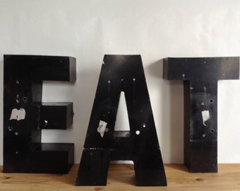Vintage Large Industrial Metal Marquee Sign Letters