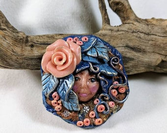 Lady Face Brooch, Rose Pin, Mothers Day, Peach and Blue, Polymer Clay,  Victorian, Floral, Fantasy Brooch