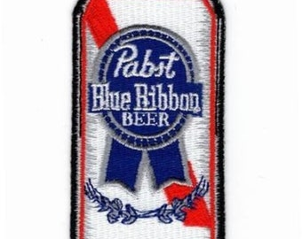 Pabst blue ribbon beer can embroidered patch-heat on or sew on backing- size 3.5 X 1.75
