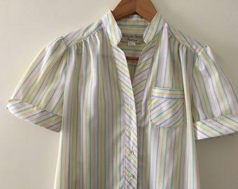 Vintage 60s Spring Pastel T-Shirt Dress - Size 6 Petite