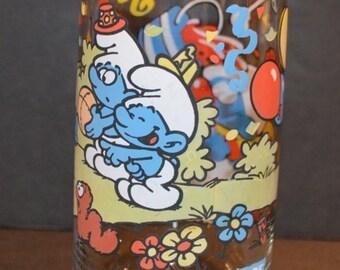 1980's Clumsy Smurf Peyo Drinking Glass