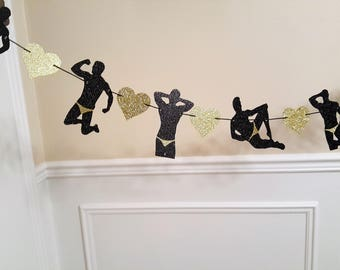 Male dancers strippers banner/Bachelorette banner/ strippers/Engagement party/Bar banner/Black /Silver glitter