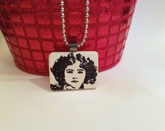 Black and White Face Necklace, Face Jewelry, Girl with Curly Black Hair, Stamped Ink Pendant, handmade polymer clay