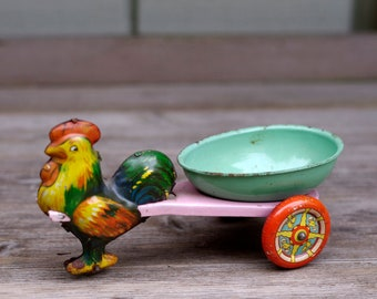 Vintage Tin Litho Toy Rooster Chicken Pulling Wagon Egg Cart