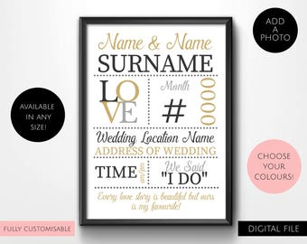 Digital Download Personalised Printable Wedding, Engagement, Couples, Anniversary Typography Wall Art Print - Your Own Photo - Love Story