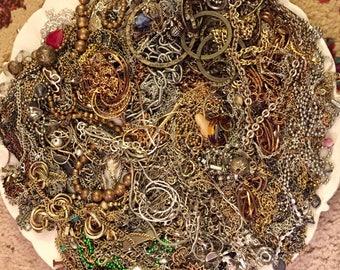 HUGE 3 pounds Destash Lot of Scrap Chain Jewelry making Silver Gold Tone