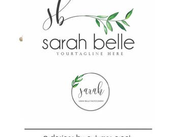 logo design olive branch logo watercolor logo leaf logo Photography Logo premade logo blog logo herb nutrition