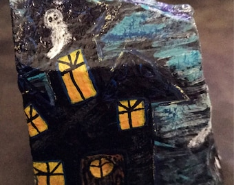 Halloween Haunted House Painted Rock, Hallowen and Home Decor, Art, Collectible & Gift SALE PRICE @MoonRocksArt