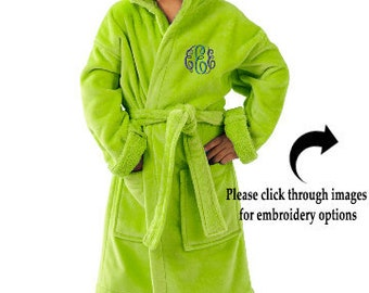 Terry Robe for Kids, Monogrammed Kids Hooded Terry Robe, Personalized Childrens Terry Bathrobe, 100%  Cotton Terry Velour