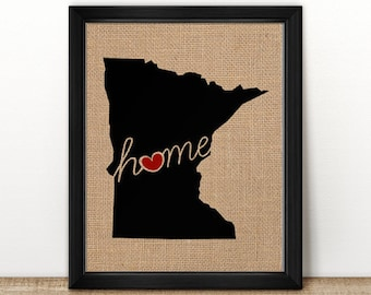 """Minnesota (MN) """"Love"""" or """"Home"""" Burlap or Canvas Paper State Silhouette Wall Art Print / Home Decor (Free Shipping)"""