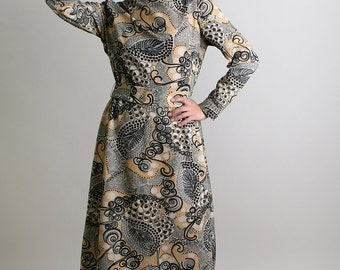 Vintage 1960s Dress - Sacony Swirls and Dots Metal Color Autumn 60s Psychedelic Print Dress - Small