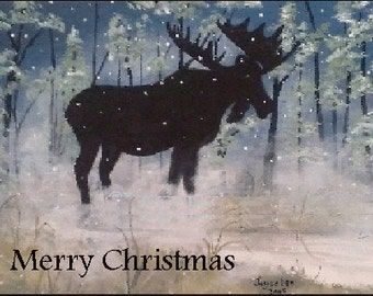 Christmas Cards      Moose In The Fog From one of my winter paintings