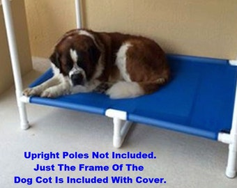 """Heavy Duty Extra Large Dog Bed 1 1/2"""" PVC Pipe, (1 & 7/8"""" Wide) Mesh Raised Bed With Middle Support, 8 Colors, 39x56 Dogs Up To 200 Pounds."""