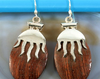 Wood and silver, earrings - 4686