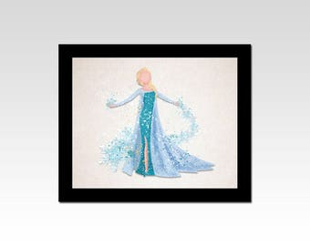 Frozen inspired Elsa sparkles and snowflakes print