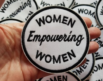 Women Empowering Women Slogan Patch, Embroidered Iron On Applique Patch, International Women's Day, White and Black, 8cm, Feminist Slogan