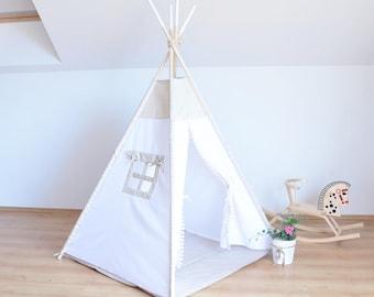 Kids Teepee Tent, Teepee Tent For Kids, Kids Playhouse, Kids Tipi Tent, Play Teepee, Kids Wigwam, white teepee, indian house, play house