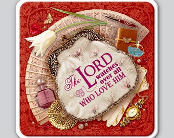 """Magnet Christian EM-13 """"The Lord watches over all who love Him"""" Gift Present Favor Support Church Paper Mission Outreach fridge"""
