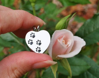 Urn 4 Paws on My Heart Cremation PENDANT or NECKLACE Holds Cremains Ashes Ash Locket Dog Cat Pawprint In Memory of Beloved Pet Loss Memorial