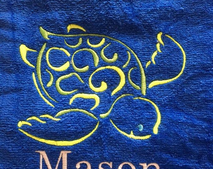 Sea turtle beach towel, custom personalized beach towels, kids towel, bath towel, kids party gift, birthday gift, pool towel, vacation to
