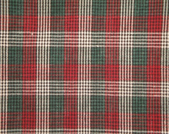 Homespun Fabric Micro Check | Plaid Green Black Wine And White Micro Check Fabric | Holiday Fabric | Primitive Fabric | Cotton Fabric