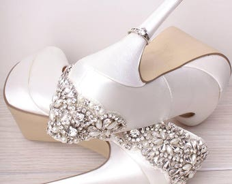 Wedding Shoes   Bridal Shoes   Crystal Platform Wedding Shoes   Crystals    Ivory Wedding Shoes   Custom Womenu0027s Wedding Shoes   High Heels