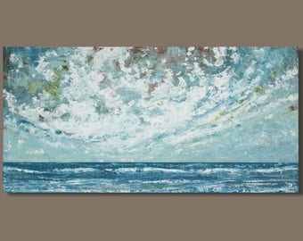FREE SHIP Abstract Seascape Painting, Panoramic Painting, 18x36, Coastal Art, Canadian art, Northumberland Straight, Bedroom Art, Wall Decor