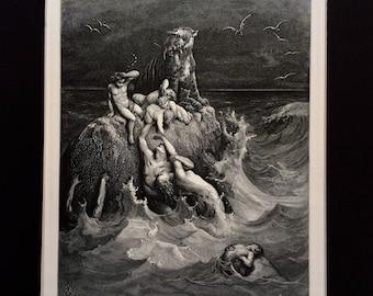 1870 Antique Engraving Gustave Doré Bible Genesis THE DELUGE Flood