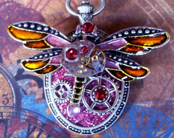Steampunk Pin (P746-2) Dragonfly Brooch, Hand Painted Acrylic, Gears and Swarovski Crystals