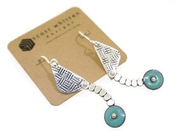 Mid Century Modern Inspired Modernist Vintage Style Glass Enamel Sterling Silver Abstract Kinetic Earrings