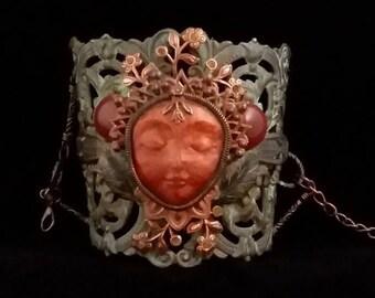 Cuff Bracelet, Face Bracelet, Garden Nymph, Garden Faerie, Garden Fairy, Nymph Bracelet, Earth Mother, Faerie Cuff, Fairy Cuff