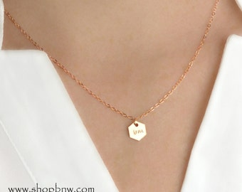 Honeycomb Initial Necklace / Gold, Silver, Rose Gold / Personalized Necklace / Bridal Necklace / Wedding Necklace / Bridesmaid Gift