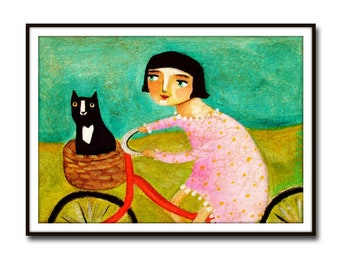 PRINT tuxedo cat bike ride to the vet CUTE cat folk art poster print of painting black cat on bicycle naive art by Tascha