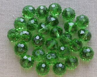 20 glass Abacus beads faceted green clear 8mm LBP00183A