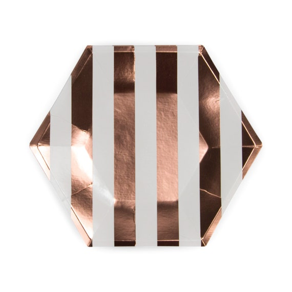 8pc Foiled Rose Gold Stripe Dinner Plate, Rose Gold Party Decor, Copper Birthday Plate, Striped Plate, Table Setting, Rose Gold Centerpiece