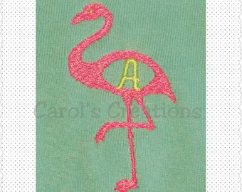 Instant Download Flamingo Design/Downloadable Designs/Flamingo Machine Embroidered Monogrammed Design/Monogram-able Flamingo/Flamingo Design